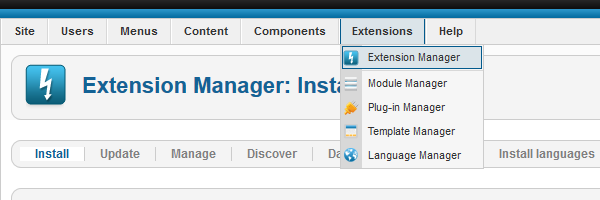 Click Extensions -> Extension Manager