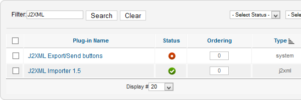 Click status icon to enable the plugin
